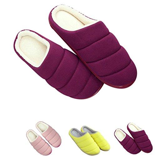 Transer® Damen Plüsch Hausschuhe Herbst/Winter Warm Schuh Plüsch+TPR Sandelholz Slipper Schuhe Länge 25.4cm (Bitte achten Sie auf die Größentabelle. Vielen Dank!) Lila
