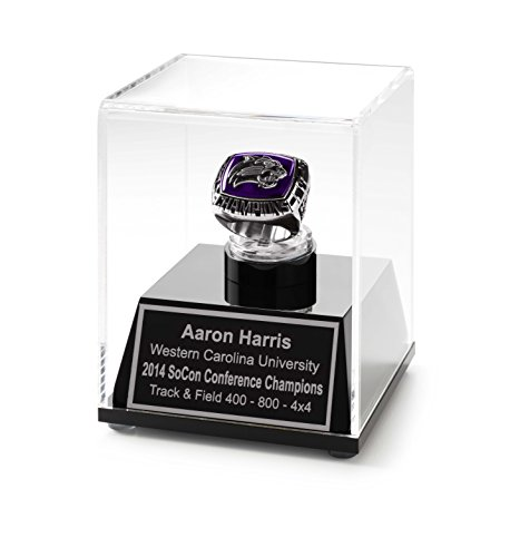 Championship Ring Display Case Acrylic Ring Box with Personalized Engraving (Silver) ()