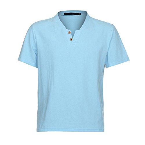 OUBAO T Shirt for Men Casual Short Sleeve Beachwear Tanks T-Shirt Tops Slim Fit Shirt Linen Blouse (Large, Blue)