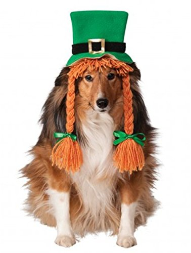 Rubies Costume Company St. Patty's Day Girl Pet Costume Hat with Braids, Small/Medium