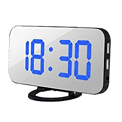 Succper LED Digital Alarm Clock with Easy-Read Display, Easy Snooze Function, Diming Mode, Mirror Surface, Dual USB Charging Ports for Bedroom, Living Room, Office, Travel