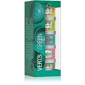 Kusmi Tea - Green Tea Sampler - Assorted Set of Green Teas including Rose, Ginger Lemon, & Imperial Green Tea - All Natural, Premium Loose-Leaf Green Tea in 5 Eco-Friendly Metal Tins