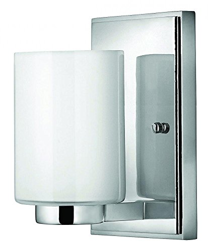 Hinkley 5050CM-LED Contemporary Modern One Light Bath Wall Sconce from Miley collection in Chrome, Pol. Nckl.finish,