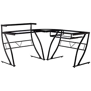 Z-Line Designs Feliz Glass L Desk, Black