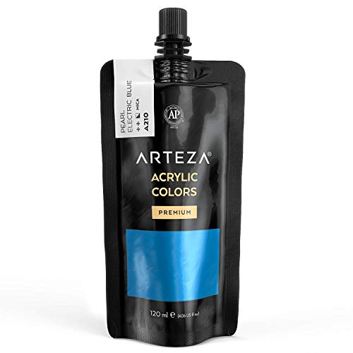 Arteza Metallic Acrylic Paint, Pearl Electric Blue A210, 120 ml Pouch, Highly Pigmented & Fade-Resistant, Non-Toxic, for Artists, Hobby Painters & Kids