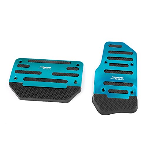 uxcell 2 Pcs Black Blue Plastic Metal Nonslip Pedal Cover Set for Car
