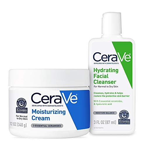 CeraVe Moisturizing Cream and Hydrating Face Wash Trial Combo   12oz Cream + 3oz Travel Size Cleanser