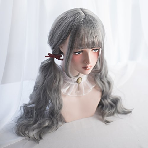 Long Wavy Grey Wig Bangs - Natural Gray Wigs for Women and Girls Cosplay Costume, Lolita Style Synthetic Hair with Wig Cap by Alice Garden Wigs (Image #4)