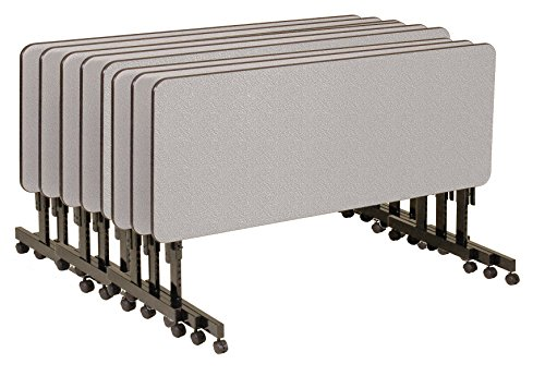 Correll FT2460MA-15-8 Pack EconoLine Flip Top Table, 24'' x 60'', Adjustable Height, Gray Granite Melamine Top, Rectangle by Correll