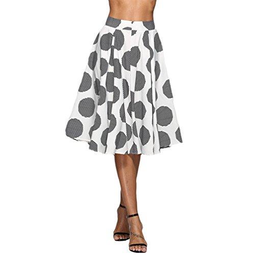 Grand Femmes Noir Taille TianBin Basique Swing lgante Polka Plisse Jupe Haute Dots Vintage Jupes Midi qC5x417
