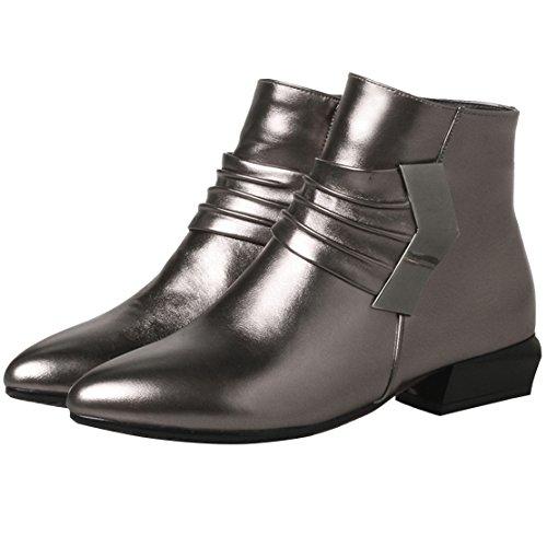 AIYOUMEI Damen Herbst Winter Chunky Heel Kurzschatf Stiefeletten mit Reißverschluss Bequem Ankle Boots Silbergrau