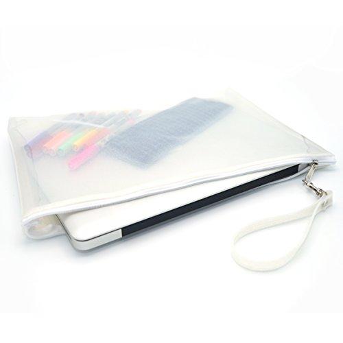 PVC Clear Transparent Zipper Envelope Clutch Purses Bag With Wrist Strap For Men, Women, Ladies Handbags ,Document File Holder, Ipad Notebook Case Size 27 cm x 37 cm. (White)