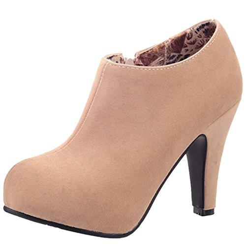 Women KemeKiss Apricot Round Winter Ankle Fashion Toe 256 High Booties Heel Block RapBwqa