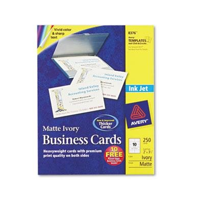 AVERY-DENNISON, Two-Side Printable Business Cards, Inkjet, 2 x 3-1/2, Ivory, Matte, 250/Pack
