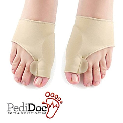 PediDoc™ Bunion Corrector – Bunion Relief Sleeves Bunion Pads Brace Cushions Toe Straightener with Gel Toe Separator, Spacer, Straightener and Spreader – Hallux Valgus Relief Big Toe Alignment by PediDoc(TM)