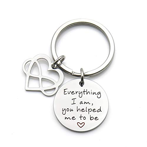 Everything I Am You Helped Me to Be Keychain Gift for Mum Mom Dad Infinity Love Heart ()