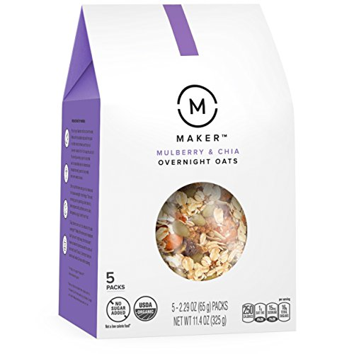 Maker Overnight Oats, Mulberry & Chia, Organic, No Sugar Added, 5 Single-Serve Pouches (Oatmeal Saucer)