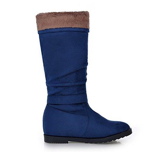 AgooLar Damen Blend-Materialien Reißverschluss Ziehen auf Mittler Absatz Stiefel, Gelb, 39