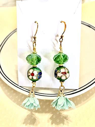 Chandelier Green Flower Cloisonne Petal Tassel Gold Earrings
