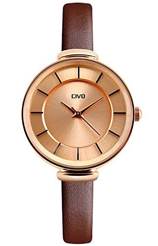 CIVO Women's Slim Brown Genuine Leather Band Luxury Waterproof Wrist (Chrome Black Retro Glass)