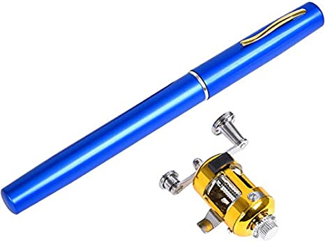 JVSISM Portátil Pocket Pen Ca?a de Pescar con Carrete Spinning ...