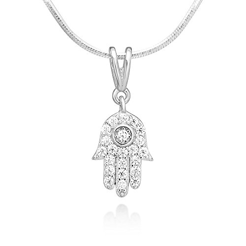 (925 Sterling Silver CZ Hamsa Hand of Fatima Good Luck Protection Pendant Necklace 18