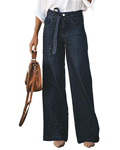 GALMINT Women's Wide Leg Bootcut Bell Bottom Palazzo Cowboy Flared Denim Pants Jeans