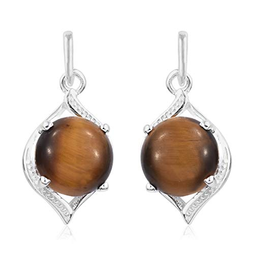 Tigers Eye White Earrings - 925 Sterling Silver Round Tigers Eye Fashion Solitaire Earrings for Women
