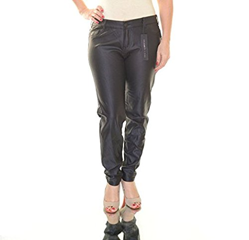 (Celebrity Pink Jeans Womens Juniors Faux Leather Flat Front Skinny Pants Black 0)