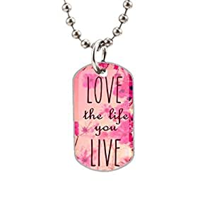 Fashion Printed Wildflower& Love the Life You Live Custom image Oval Dog Tag Pet Tags Handmade Tags Cute Gift Ideal
