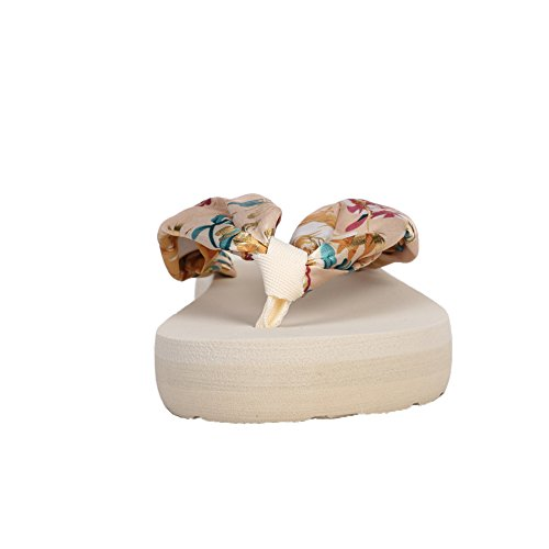 Satin Flops Floral Gilt fereshte Beach Wedge Bohemian Thongs Platform Beige Flip Women's Sandals wvxEpqO