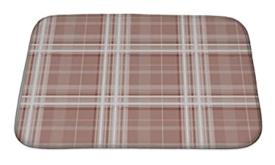 Gear New GN-BMAT-MF-A-1688421-2417 Brown Checkered Pattern Bath Rug Mat No Slip Microfiber Memory Foam