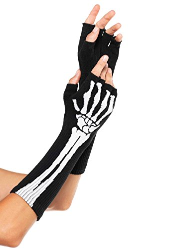 Skeleton Costume Accessories (Leg Avenue Women's Skeleton Fingerless Gloves, Black, One Size)