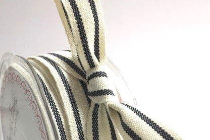 Negro rayas algodón orgánico 15 mm cinta en un rollo de 20 m ...