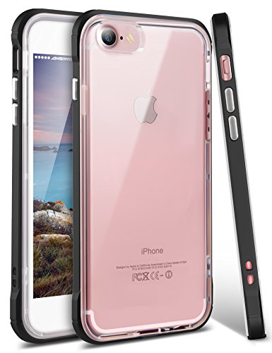 iPhone 8 Case, iPhone 7 Cover, Ansiwee Reinforced Frame Crystal Highly Durable Shock-Absorption Flexible Soft Rubber TPU Bumper Hybrid Protective Case for Apple iPhone 7 and iPhone 8 4.7 (Black)