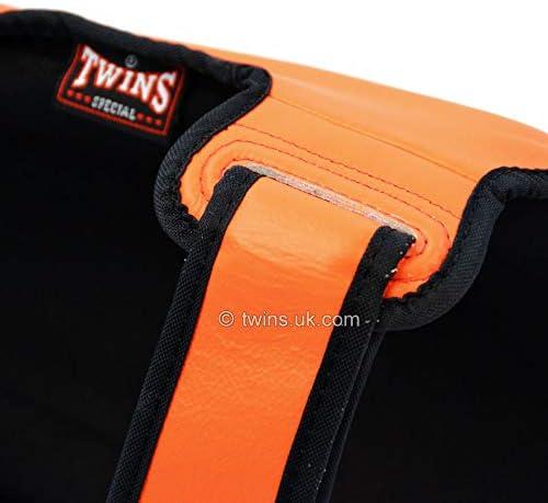 Twins Shin Guards Double Padded Orange Leather SGL10 Pads Muay Thai Kickboxing