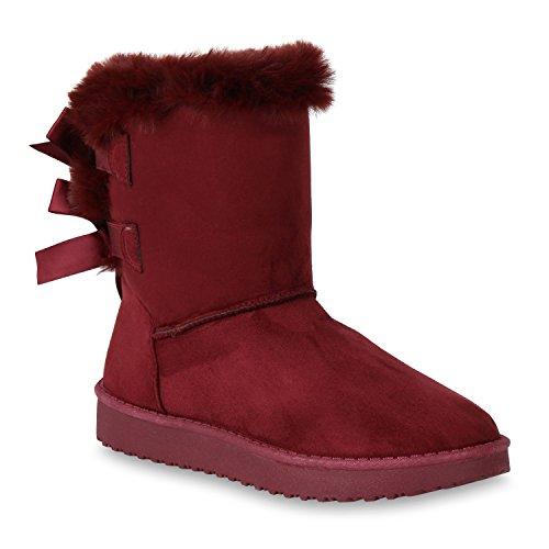 Stiefelparadies Warm Gefütterte Damen Stiefeletten Kunstfell Schlupfstiefel Boots Flandell Dunkelrot Satinoptik
