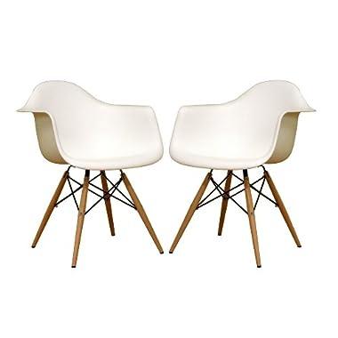 Baxton Studio Fiorenza White Plastic Armchair with Wood Eiffel Legs, Set of 2