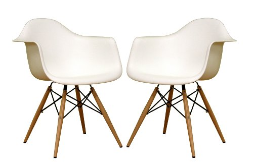 Baxton Studio Fiorenza White Plastic Armchair with Wood Eiffel Legs, Set of 2 (Comfortable Chairs For Small Spaces)