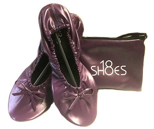 Shoes 18 Women's Foldable Portable Travel Ballet Flat Shoes w/Matching Carrying Case Purple Sh18