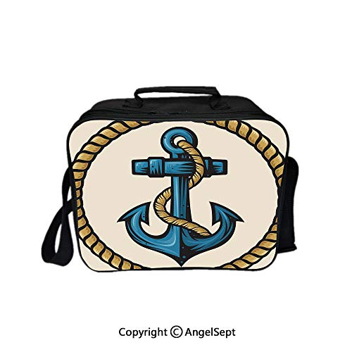 - Reusable Lunch Bag With Adjustable Shoulder Strap,Sailor Design with Circular Rope and Anchor Antique Maritime Nautical Decorative Pale Coffee Blue Cream 8.3inch,Office Work Picnic Hiking Beach Lunch