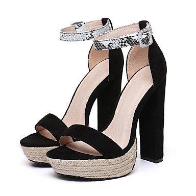 pwne Sandalias De Mujer Zapatos Club Fabric Summer Party &Amp; Vestido De Noche Hebilla Casual Chunky Talón Plata Negro Verde Oscuro 5En &Amp; Más US6 / EU36 / UK4 / CN36