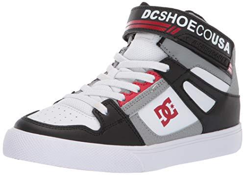 DC Boys' Pure HIGH-TOP EV Sneaker Black/Grey/RED 5 M M US Big Kid