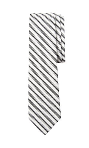 Cotton Track Stripe Tie Black - Made in USA