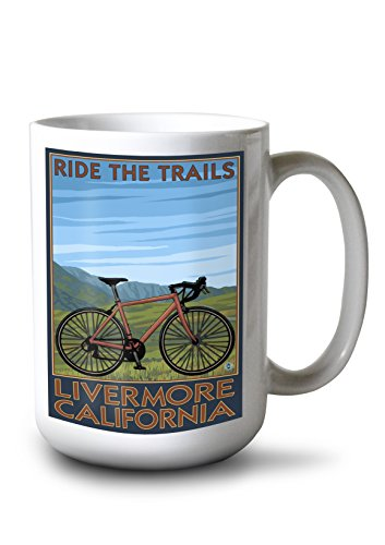 Lantern Press Livermore California Mountain Bike Scene 15-ounce White Ceramic Mug