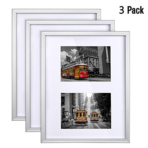 SmartCode 11x14 Collage Picture Frame, Silver Picture Frames, Set of 3 for photo frame, Displays Two Photos Sized 5x7