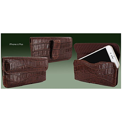 Piel Frama 688COM Etui rigide de protection design Crocodile horizontal pour iPhone 6 Plus Marron