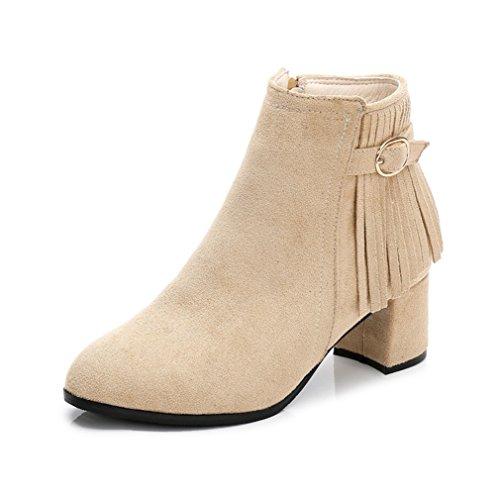 Automne Hiver Demi Botte Femmes Mode Moyen Talon Bloc Suédé Bottines avec  Frange 4Casual Abricot 34 Amazon.fr Chaussures et Sacs