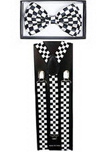 Scott Allah design Mens Accessories Checkered Black SUSPENDERS and BOW TIE COMBO SET Unisex Adjustable (Tuxedo Playboy Bunny Costume)