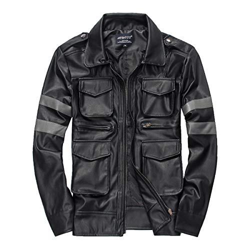 Hiver Slim Automne En Manteau Pu Vestes Motard Revers Cuir De Hommes Black Aww6pqz
